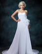 A-Line/Princess Sweetheart Court Train Chiffon Wedding Dress With Lace Beading Flower(s) Pleated (002001216)