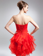 A-Line/Princess Sweetheart Knee-Length Organza Cocktail Dress With Cascading Ruffles (016015001)