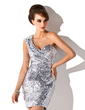 Sheath/Column One-Shoulder Short/Mini Sequined Cocktail Dress (016008317)