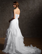 A-Line/Princess Strapless Chapel Train Satin Organza Wedding Dress With Beading Cascading Ruffles (002001292)