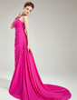 Trumpet/Mermaid One-Shoulder Court Train Chiffon Evening Dress With Ruffle (017019747)