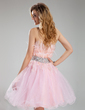 A-Line/Princess Strapless Knee-Length Tulle Homecoming Dress With Beading (022018847)