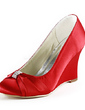 Women's Satin Wedge Heel Pumps Wedges With Rhinestone (047020196)