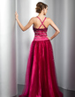 A-Line/Princess V-neck Floor-Length Tulle Prom Dress With Beading (018014778)