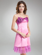 Empire V-neck Knee-Length Satin Homecoming Dress With Beading Sequins Cascading Ruffles (022016860)
