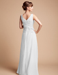 A-Line/Princess V-neck Floor-Length Chiffon Mother of the Bride Dress With Beading Cascading Ruffles (008003181)