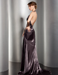 A-Line/Princess Halter Sweep Train Charmeuse Evening Dress With Ruffle Beading (017014538)