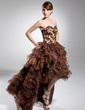 Linia A/Księżniczka Kochanie Asymetryczna Organza Satin Sukienka na Bal Maturalny (018014700)