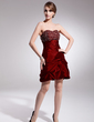 A-Line/Princess Sweetheart Short/Mini Taffeta Cocktail Dress With Ruffle Beading Sequins (016021148)