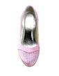 Women's Satin Low Heel Closed Toe Pumps With Rhinestone (047020195)