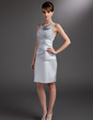 Sheath/Column Scoop Neck Knee-Length Satin Mother of the Bride Dress With Ruffle Flower(s) (008006032)