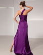 A-Line/Princess One-Shoulder Asymmetrical Charmeuse Evening Dress With Ruffle Split Front (017014429)