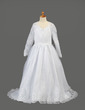 A-Line/Princess Sweep Train Flower Girl Dress - Organza Long Sleeves V-neck With Embroidered (010005886)