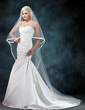 Trumpet/Mermaid Sweetheart Chapel Train Satin Wedding Dress With Beading Appliques Lace Cascading Ruffles (002000602)
