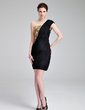 Sheath/Column One-Shoulder Short/Mini Chiffon Sequined Cocktail Dress With Ruffle Beading (016019161)