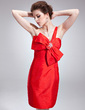 Sheath/Column One-Shoulder Knee-Length Taffeta Cocktail Dress With Beading Bow(s) (016021195)