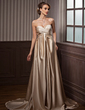 Empire Sweetheart Court Train Satin Wedding Dress With Ruffle (002012194)