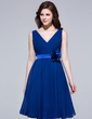 A-Line/Princess V-neck Knee-Length Chiffon Bridesmaid Dress With Ruffle Flower(s) (007037236)
