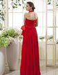 A-Line/Princess Halter Floor-Length Chiffon Mother of the Bride Dress With Ruffle Bow(s) (008015503)