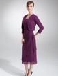 Kılıf Kare Yaka Uzun Etekli Chiffon Gelin Annesi Elbisesi (008006001)
