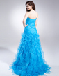 A-Line/Princess Strapless Sweep Train Organza Prom Dress With Split Front Cascading Ruffles (018015881)