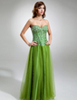 A-Line/Princess Sweetheart Floor-Length Tulle Prom Dress With Beading (018016346)