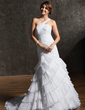 Trumpet/Mermaid One-Shoulder Court Train Satin Organza Wedding Dress With Cascading Ruffles Pleated (002011681)