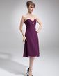 Empire Sweetheart Knee-Length Chiffon Mother of the Bride Dress With Ruffle Crystal Brooch (008006148)