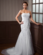 Trumpet/Mermaid Sweetheart Chapel Train Tulle Wedding Dress With Ruffle Lace Beading (002004544)