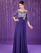 A-Line/Princess Off-the-Shoulder Floor-Length Chiffon Mother of the Bride Dress With Ruffle Lace Beading (008018708)