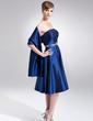 A-Line/Princess Strapless Knee-Length Taffeta Bridesmaid Dress With Beading Sequins (007020763)