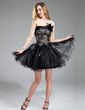 A-Line/Princess Strapless Short/Mini Tulle Homecoming Dress With Lace Beading Feather Sequins (022019583)