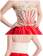 A-Line/Princess Sweetheart Short/Mini Charmeuse Homecoming Dress With Beading (022020871)