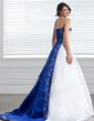 A-Line/Princess Strapless Court Train Satin Wedding Dress With Embroidered Sash Beading (002005281)