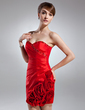 Sheath/Column Sweetheart Short/Mini Taffeta Cocktail Dress With Ruffle Beading Flower(s) (016008453)