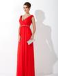 Çan/Prenses V Yaka Uzun Etekli Chiffon Gelin Annesi Elbisesi Ile Büzgü Boncuklama (008006268)