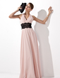 A-Line/Princess Halter Floor-Length Chiffon Evening Dress With Ruffle Lace Sash (017021127)
