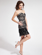 Vestido tubo Escote corazón Corto/Mini Charmeuse Encaje Vestido de baile de promoción con Lentejuelas (018018848)