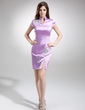 Sheath/Column High Neck Knee-Length Charmeuse Cocktail Dress With Appliques Lace (016008496)