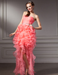 A-Line/Princess Sweetheart Asymmetrical Organza Prom Dress With Beading Cascading Ruffles (018021091)