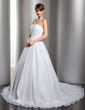 Ball-Gown Sweetheart Chapel Train Chiffon Wedding Dress With Ruffle Beading Appliques Lace (002012694)