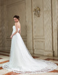 Empire Sweetheart Chapel Train Chiffon Tulle Wedding Dress With Ruffle Appliques Lace (002011724)