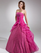 Ball-Gown Strapless Floor-Length Organza Quinceanera Dress With Beading Appliques Lace Sequins (021004691)