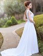 A-Line/Princess One-Shoulder Chapel Train Chiffon Wedding Dress With Ruffle Beading Appliques Lace (002011709)