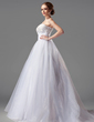 Ball-Gown Sweetheart Court Train Satin Organza Wedding Dress With Ruffle Lace (002004149)
