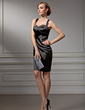 Sheath/Column Sweetheart Knee-Length Charmeuse Cocktail Dress With Beading (016008519)