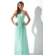 A-Line/Princess Strapless Sweep Train Chiffon Bridesmaid Dress With Ruffle Beading Crystal Brooch (007013791)
