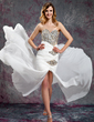 A-Line/Princess Sweetheart Court Train Chiffon Prom Dress With Ruffle Beading Sequins Split Front (018019139)