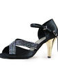 Women's Satin Heels Sandals Latin With Rhinestone Dance Shoes (053019959)