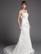 A-Line/Princess Sweetheart Court Train Lace Wedding Dress With Ruffle Beading Appliques Lace Flower(s) (002000197)